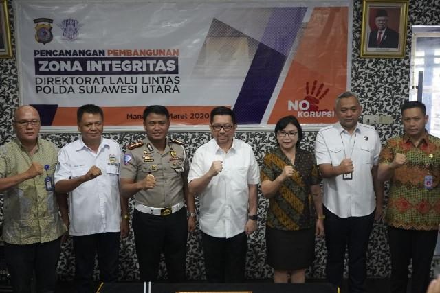 Wawali Mor Bastiaan Hadiri Pencanangan ZI di Dirlantas Polda Sulut