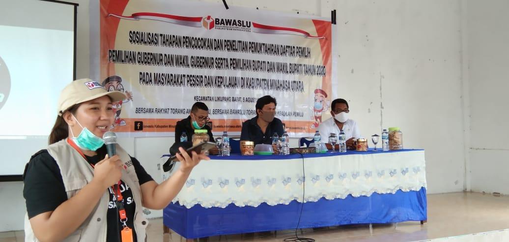 Terjang Gelombang, Bawaslu Minut Kawal Pemutahiran Daftar Pemilih di Desa Kinabuhutan