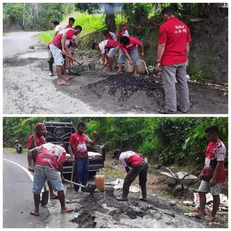 Inisiatif Sendiri, BaRed Gandeng Perindo Liksel Perbaiki Lima Titik Jalan Rusak Diruas Jalan Kokoleh-Batu