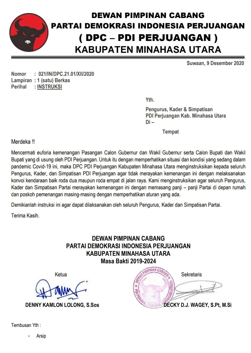 Patuhi Protokol Kesehatan, DPC PDIP Minut Instruksikan Pendukung dan Simpatisan Jangan Konvoi