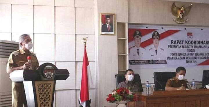 FDW Pimpin Rakor Bersama FKUB dan BKSAUA di Ruang Rapat Kantor Bupati Minsel