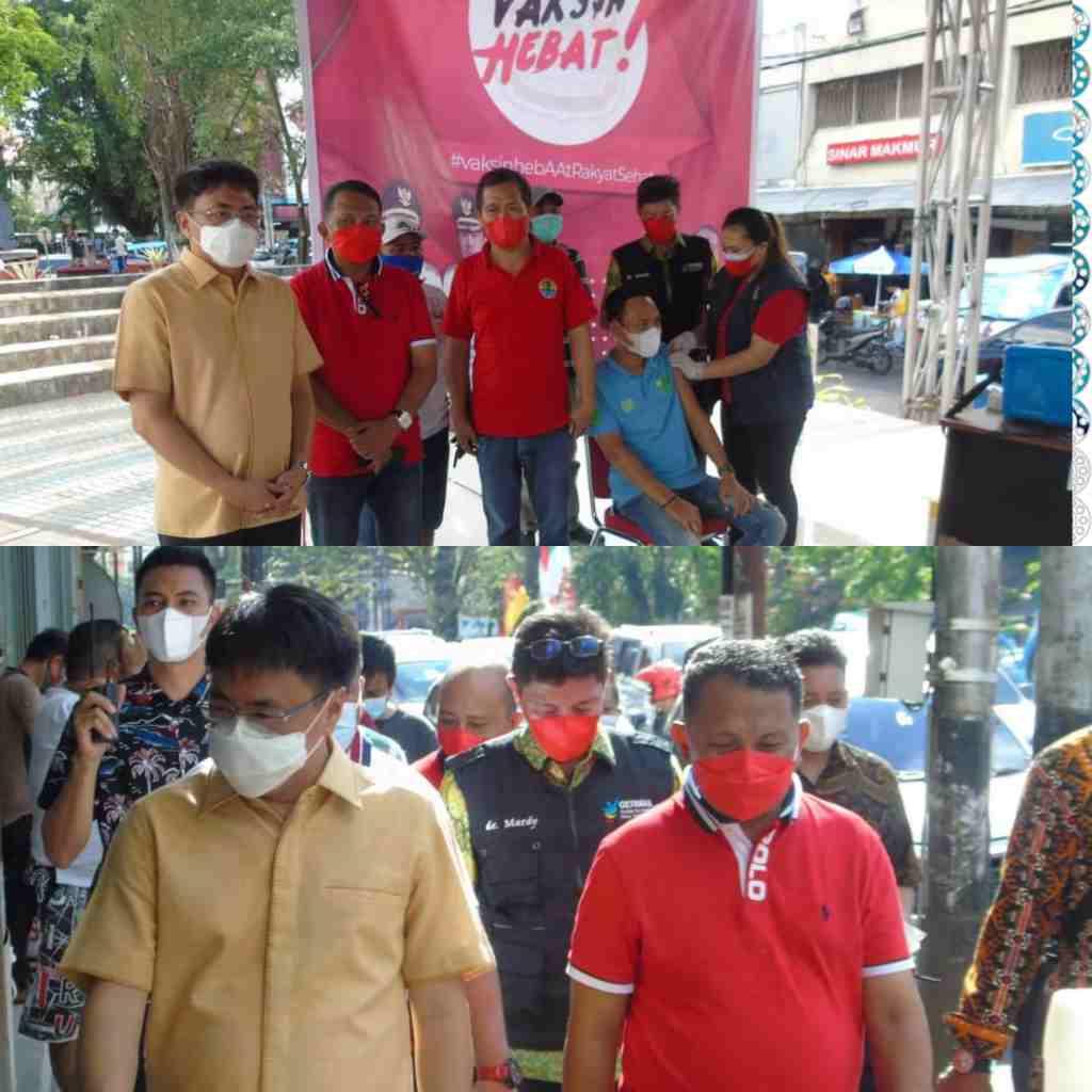 Wali Kota Tinjau Vaskinasi di TKB, dan Keliling Pasar 45 Sosialisasikan Prokes