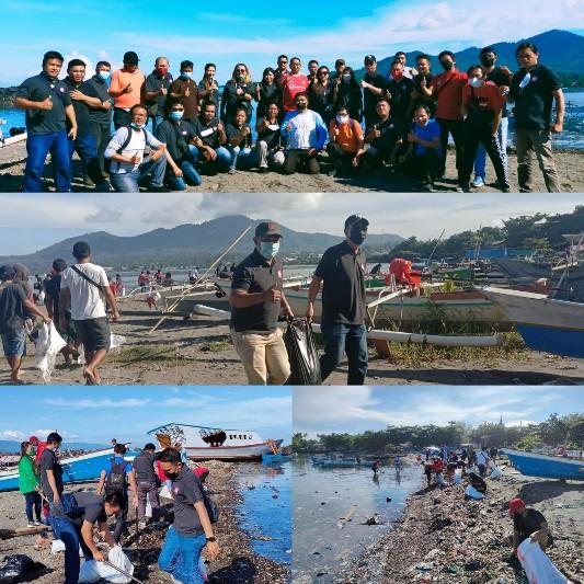 Peringati Hut ke-57 Sulut, APM dan DLH Manado Bersihkan Sampah Pantai Karangria